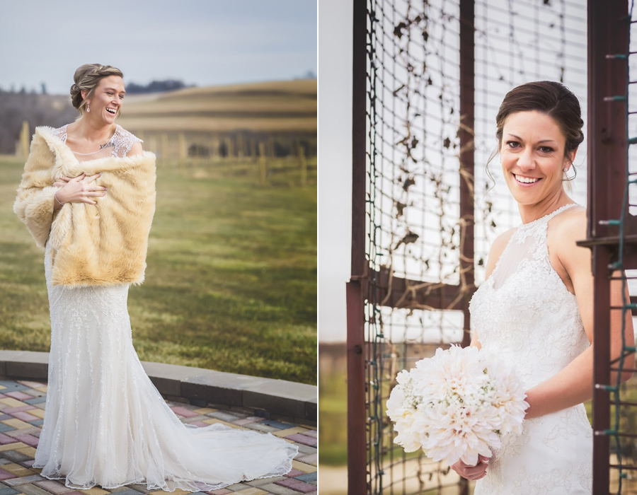 Beautiful brides outside at Pedretti's Party Barn in Viroqua, Wisconsin