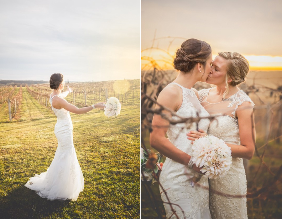 Beautiful brides in the vineyard at Pedretti's Party Barn in Viroqua, Wisconsin