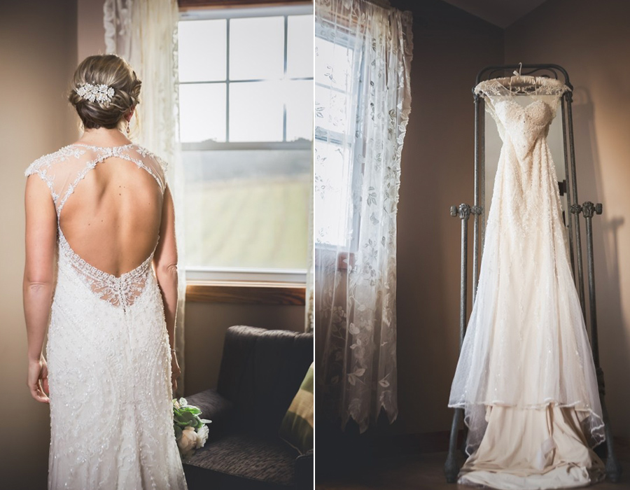 Bride getting dressed in bridal suite at Pedretti's Party Barn in Viroqua, Wisconsin