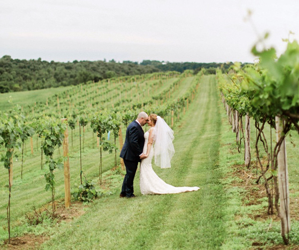 Bride and groom standing in the vineyard at Pedretti's Party Barn in Viroqua, Wisconsin