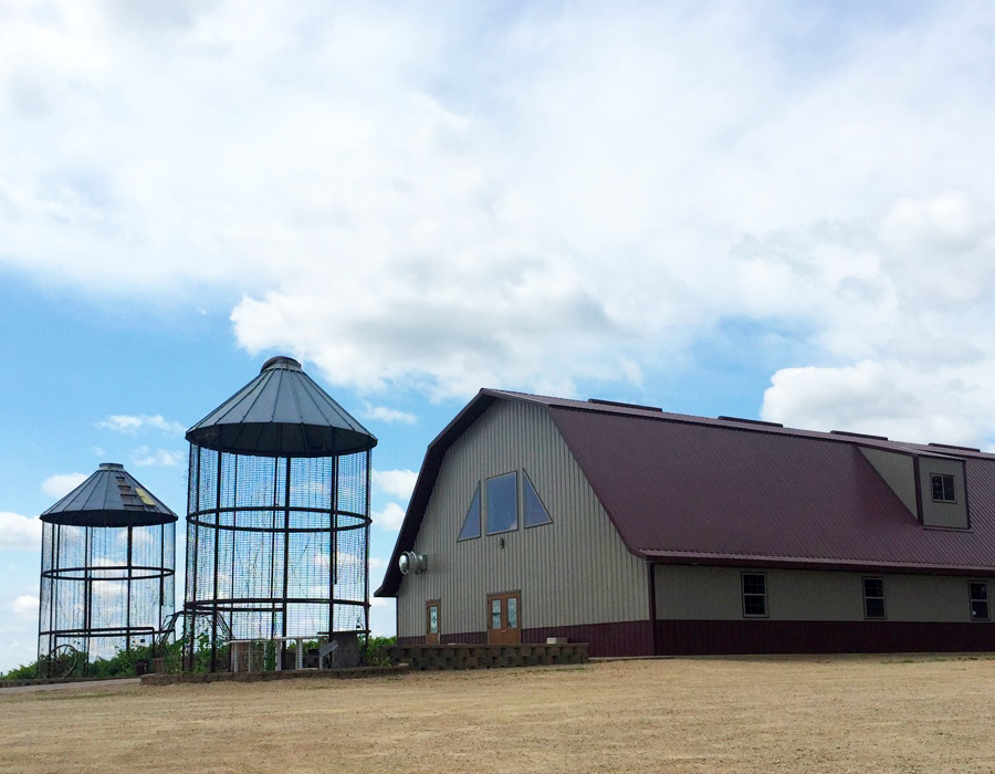 View of the building and patio at Pedretti's Party Barn in Viroqua, Wisconsin