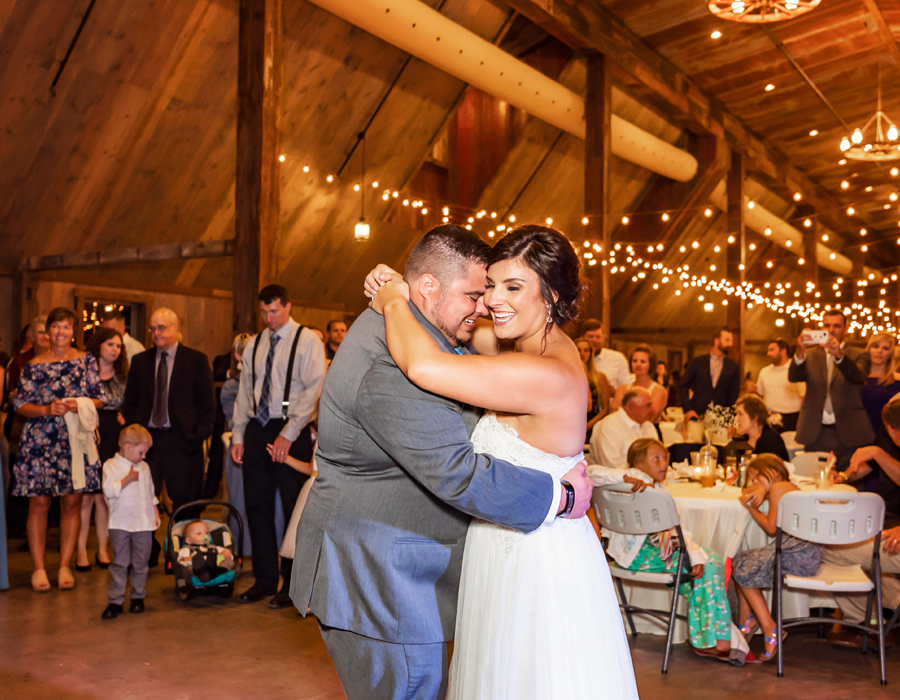 Bride and groom first dance at Pedretti's Party Barn in Viroqua, Wisconsin