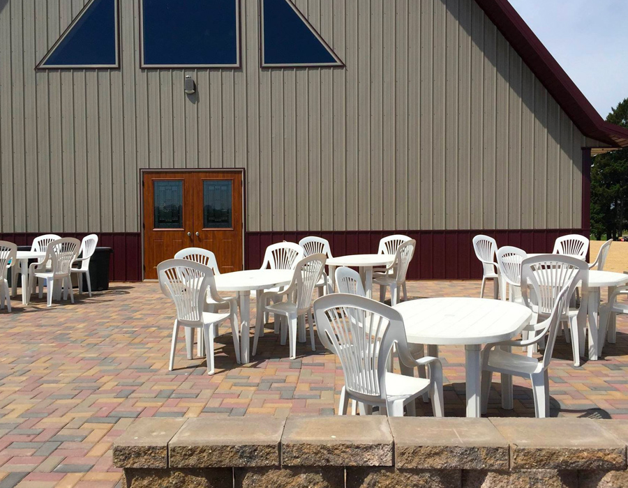 Outdoor paved patio at Pedretti's Party Barn in Viroqua, Wisconsin