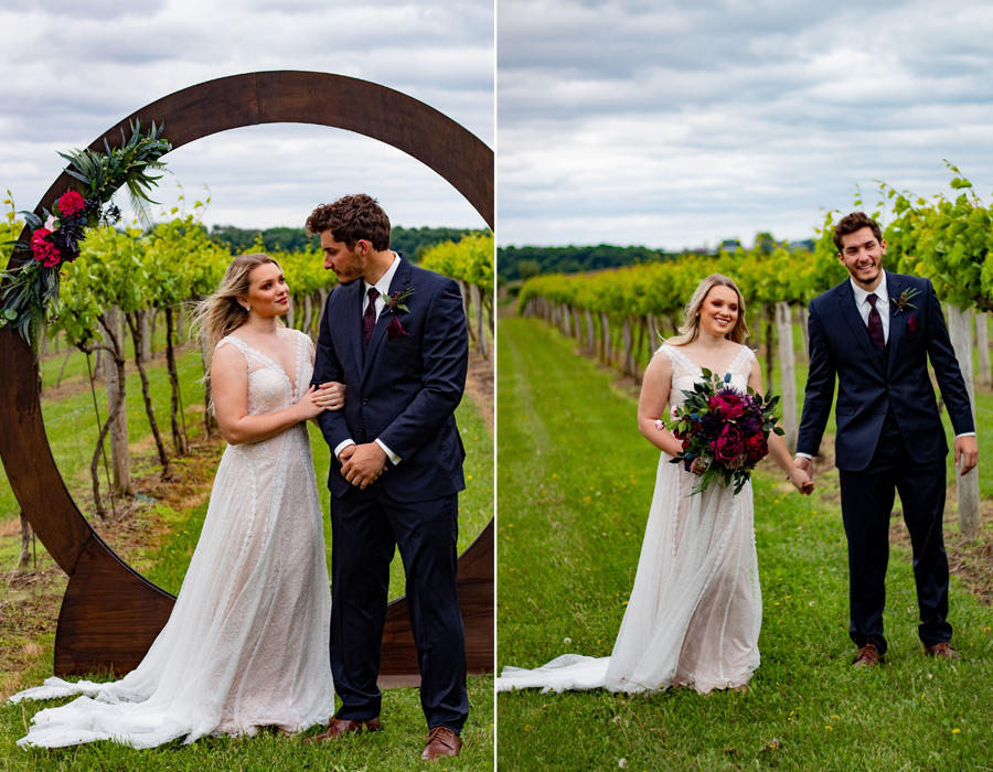 Romantic summer wedding n the vineyard at Pedretti's Party Barn in Viroqua, Wisconsin