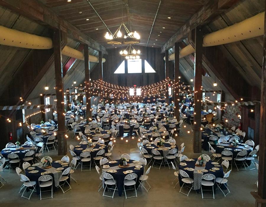 Elegant indoor wedding reception at Pedretti's Party Barn in Viroqua, Wisconsin