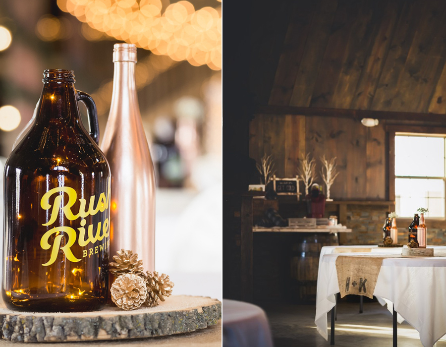 Rustic wedding decorations at Pedretti's Party Barn in Viroqua, Wisconsin